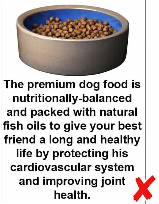 Example of a photo caption that's too long: The premium dog food is nutritionally-balanced and packed with natural fish oils to give your best friend a long and healthy life by protecting his cardiovascular system and improving joint health.