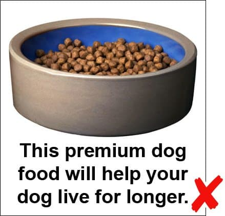 Photo caption example: This premium dog food will help your dog live for longer.