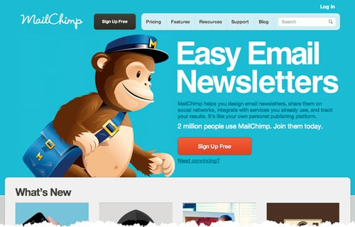 "It's easy to spot the brightly coloured call-to-action - you don't even need to scroll down the MailChimp web page to see it. (That's called being ""above the fold"".)"