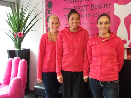 Some of the Rubywaxx team: business owner Ruby Francis (right) with two of the beauty therapists.