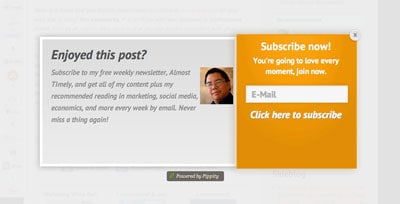 I was happily starting to read a website article when this pop-up sign up box came up, blanking out the rest of the page. Many websites use this as a ploy to capture more email subscribers.