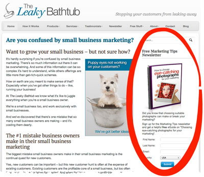 To attract as many email newsletter sign ups as possible, this box appears on most pages of my website.