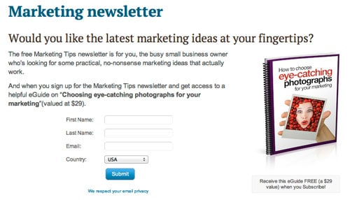 This is my main email newsletter sign up page: it's a very good idea to have a dedicated page you can link to.