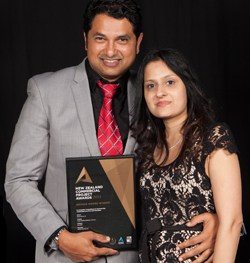 Sanjesh and Sangita Lal with their very well-deserved Commercial Building Award.
